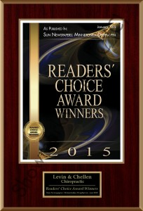 Readers' Choice Award Best Chiropractic Clinic 2015
